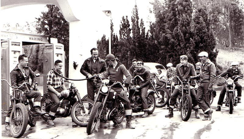 Actor Keenan Wynn (with Cigar) with his motorcycling mates